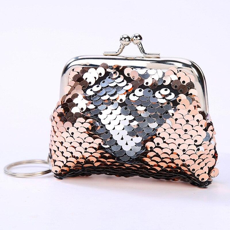 New Women Shiny Sequins Coin Purse Cute Portable Wallet Lady Retro Vintage Small Wallet Hasp Purse K
