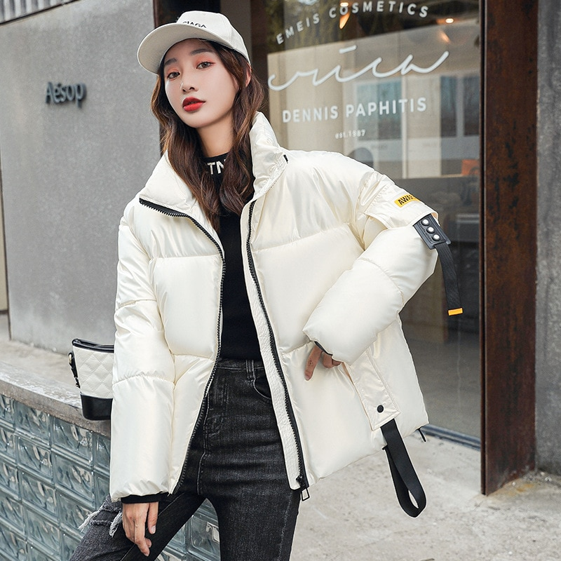 Короткое хлопковое пальто, глянцевая пуховая хлопковая куртка для женщин, зима 2021, новая модная куртка-пуховик, пальто