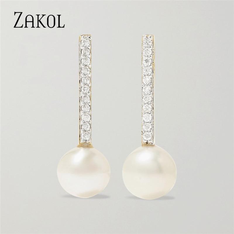 Zakol 2020 moda uso diário brilhante zircônia cúbica pequena cor de ouro pérola brincos fsep2690