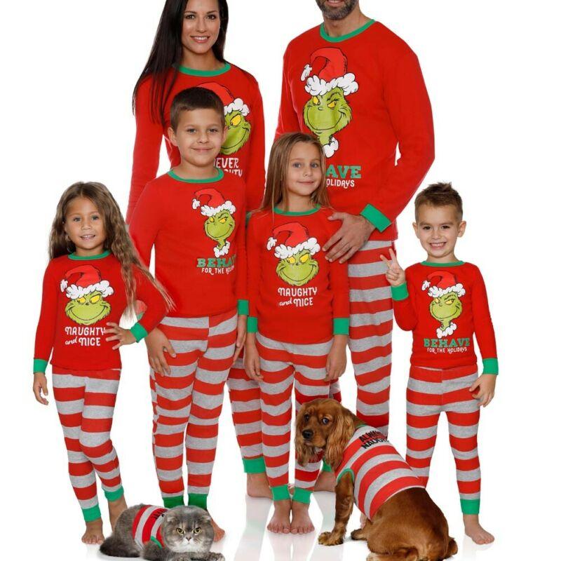 Pijamas familia Navidad PJs juego de otoño papá mamá dibujos animados rayas ropa de dormir Navidad