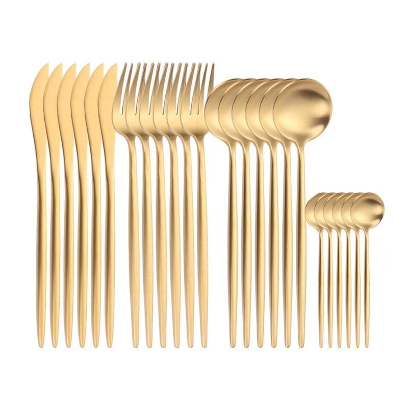24pcs Gold Dinnerware Set 18/10 Stainless Steel Golden Cutlery Set Dining Spoon Fork Knife Kit Gold Tableware Set Matte Cutlery