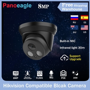 Hikvision Compatible 8MP Black IP Camera Outdoor Home Security CCTV Infrared Video Dome Camara Bulit-in Mic POE IR 30m H.265