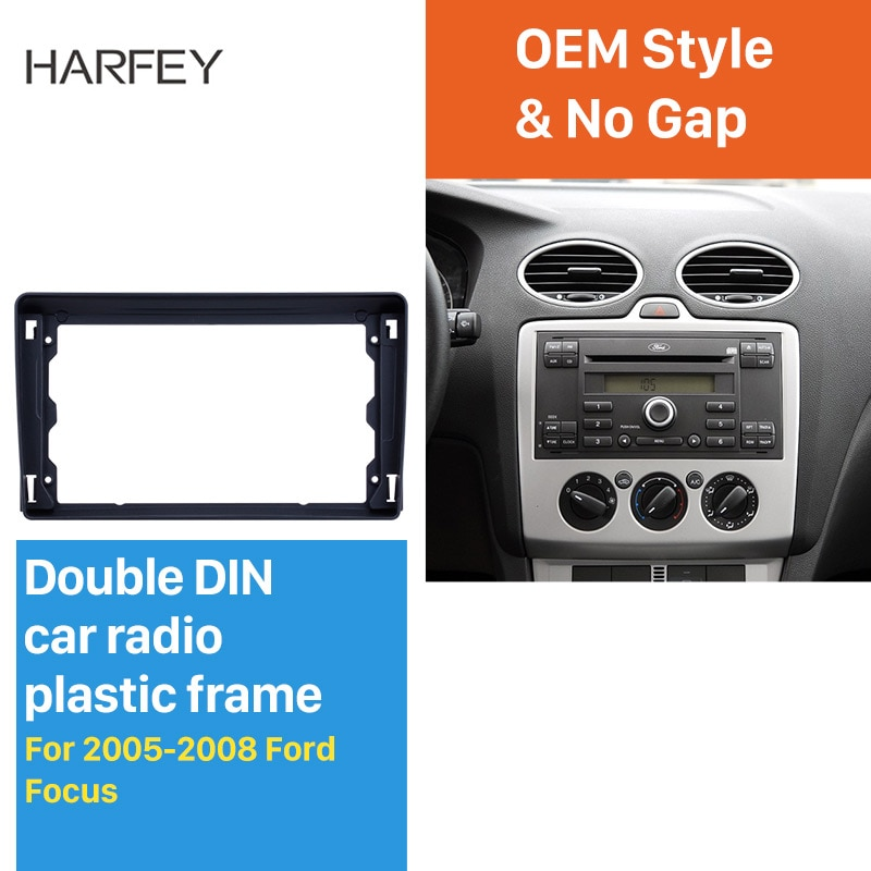 Harfey 9 inch Car Dashboard Panel Black Frame for 2005-2008 FORD FOCUS Audio Dash Trim Fascia Panel Kit Installation Plate Panel