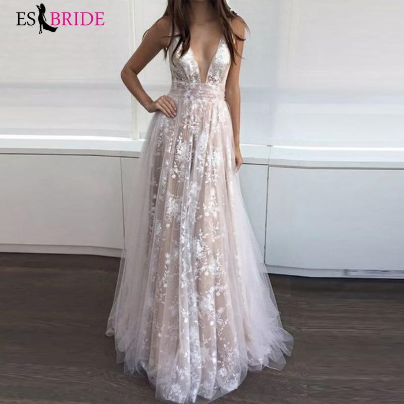 Albaricoque Formal vestidos de noche profundo cuello en V Sexy moda Simple de talla grande vestido de boda elegante Abito Da Cerimonia ES2663