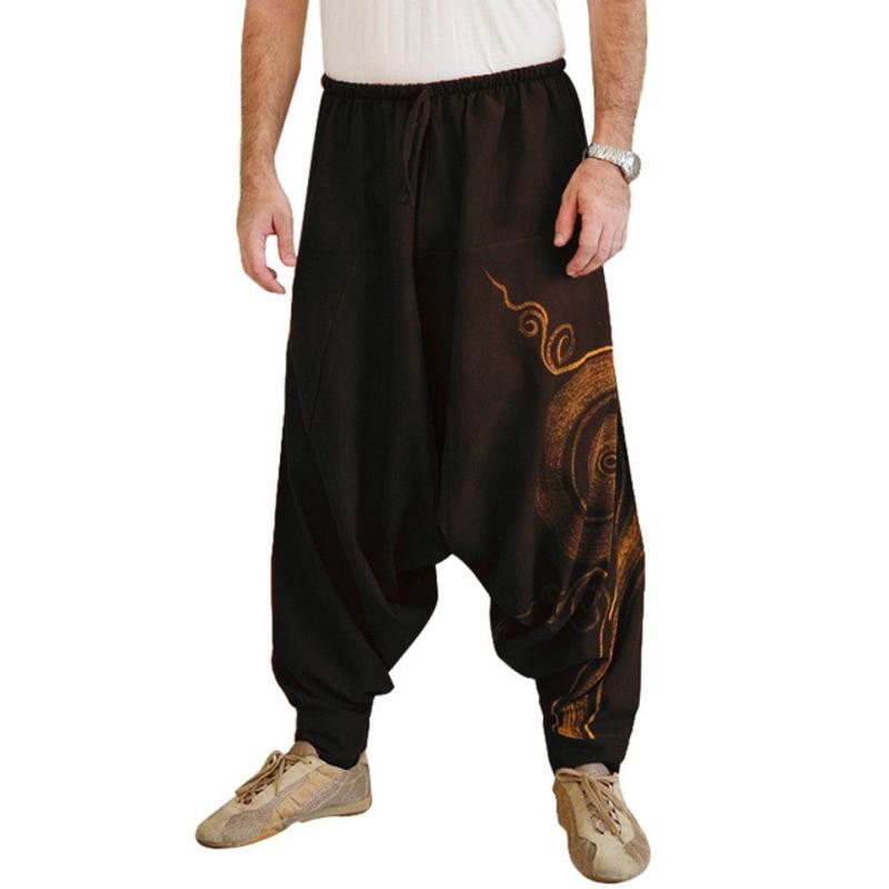 Pantalones de correr para hombre, pantalones Harem indios de talla grande, pantalones de tiro caído de Nepal holgados y jipis, pantalones informales de Yoga Punk con cordón ajustable X9188