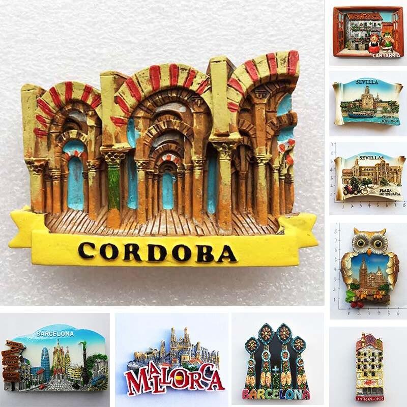 Spain Refrigerator Magnets Tourist Souvenir Cordoba Barcelona Mallorca Sevilla Cantabria Travel Gifts Magnetic Fridge Stickers