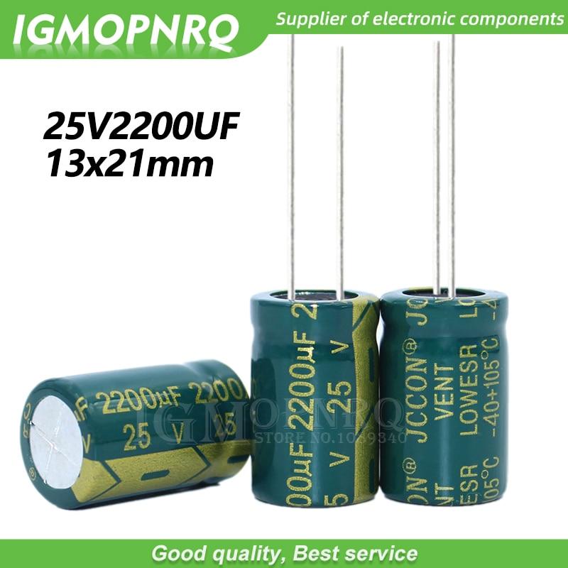 10 pces 25v2200uf 13*21mm igmopnrq alumínio capacitor eletrolítico alta baixa impedância frequente 13x21mm
