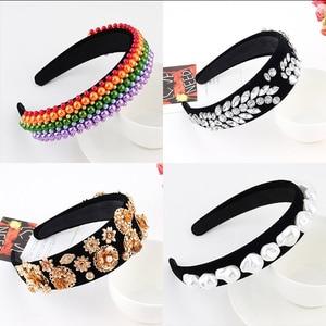 Headbands For Women Girls Korean Wide Pearl Zircon Hair Bands Accessories Fashion Adult Diademas Bandeau Cheveux Wholesale