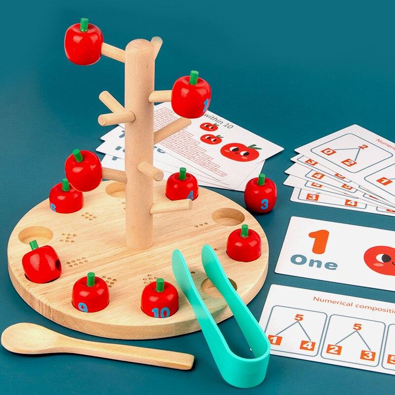 Montessori Digital Apple Tree Education Math Toys Children Learn Digital Clip Beads Skills Training Baby Early Education Game