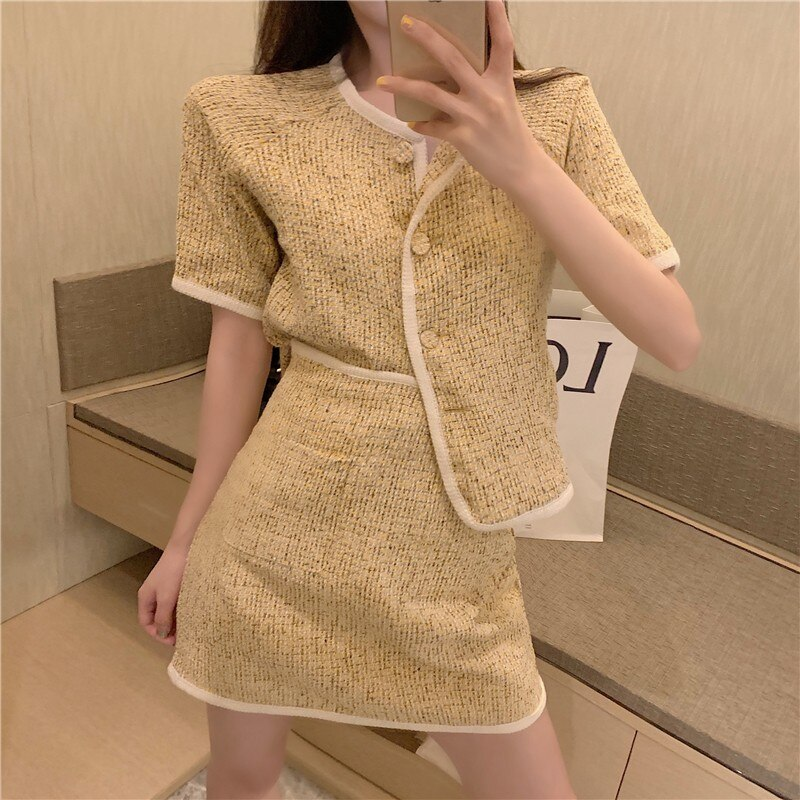 2020 Summer Women Two Piece Set Short Sleeve Single-Breasted Tweed Crop Top+ Mini Skirts Suit