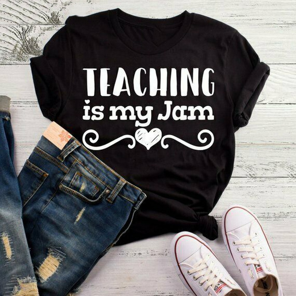 Teaching Is My Jam Tops camiseta camisa de profesor, regalo de profesor de jardín de infancia, camiseta primaria tamaño grande top ajax