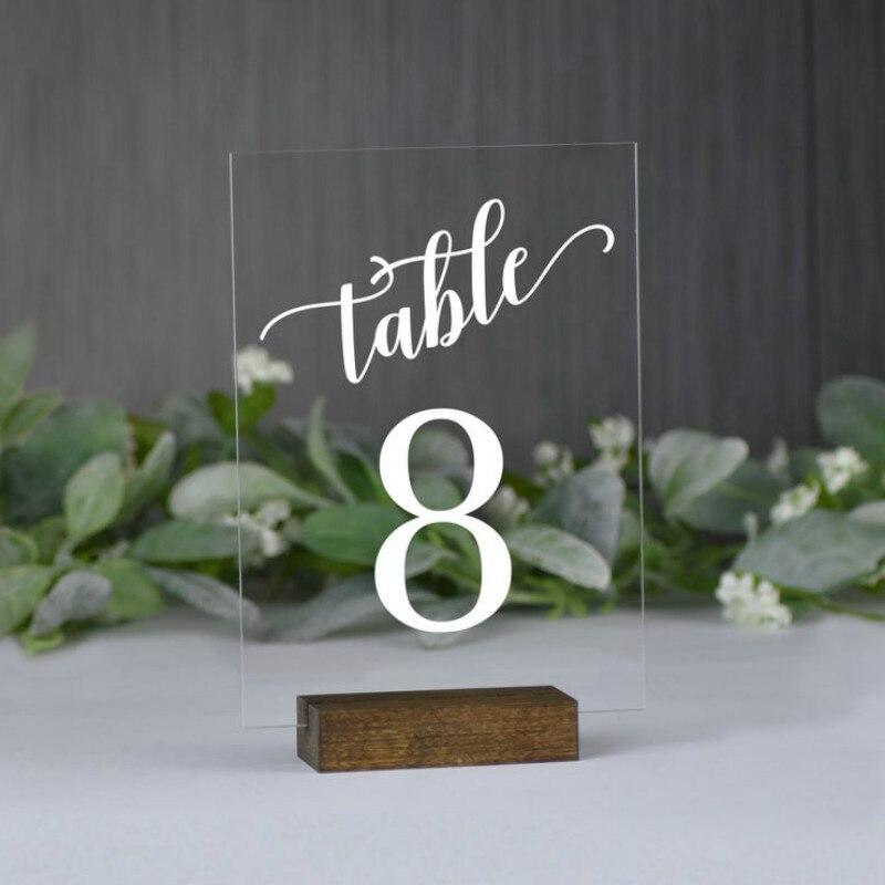 Número de mesa de acrílico transparente con Base de madera números de mesa de boda decoración para boda cumpleaños números de mesa