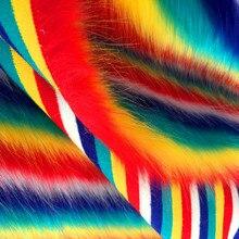 Matériel en peluche à rayures arc-en-ciel   Pour vêtements, sacs de jouets, lentille de loup artificielle, tissu de fourrure dimitation, coussin dampoule, tapis doreiller