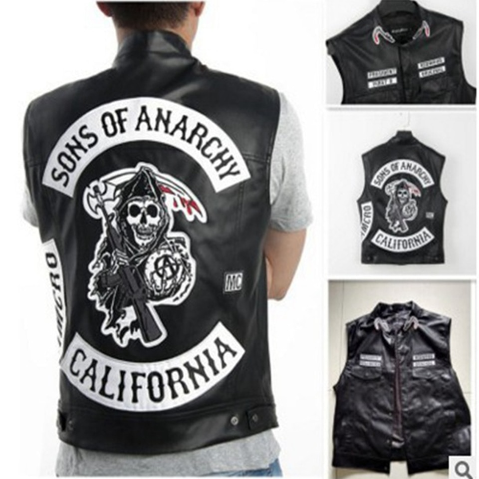 Sons Of Anarchy Embroidery Leather Rock Punk Vest Cosplay Costume Black Color Motorcycle Sleeveless