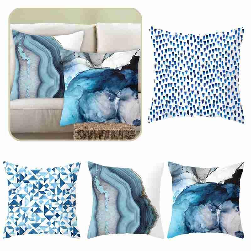 Teal Blue Pillow case Ins Style Cushion Home Decorative Lumbar Cover Car Hugging Pillowcase Sofa Cushion Cover 45x45cm Wholesale 45x45cm home fashion linen sofa cushion cover fabric pillow case solid color cushion decorative