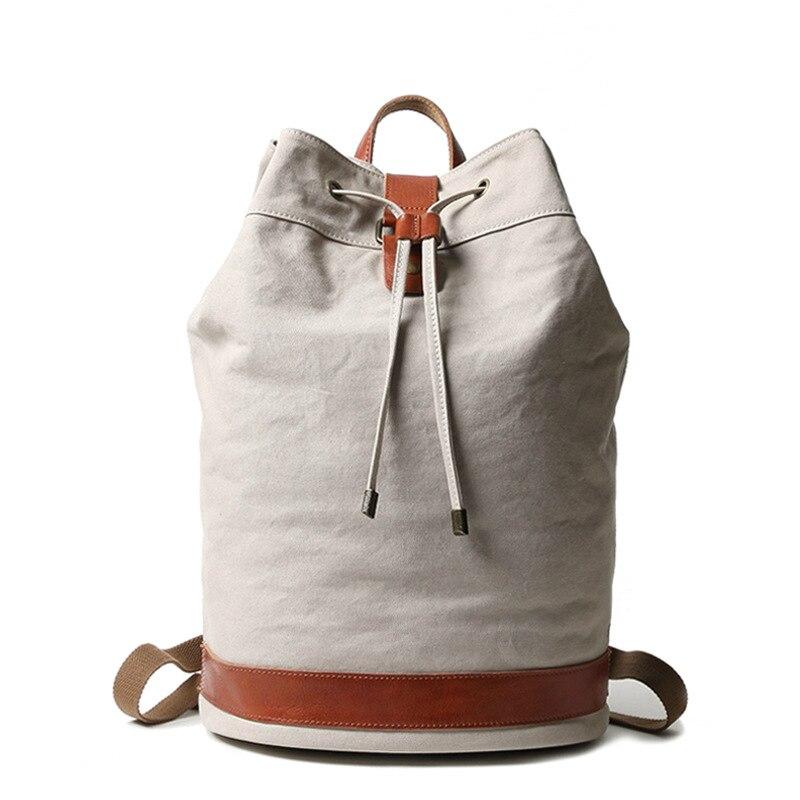 MUCHUAN-حقيبة ظهر برباط للرجال ، حقيبة مدرسية غير رسمية على طراز الكلية الرجعية ، طبل خارجي ، حقيبة سفر رياضية