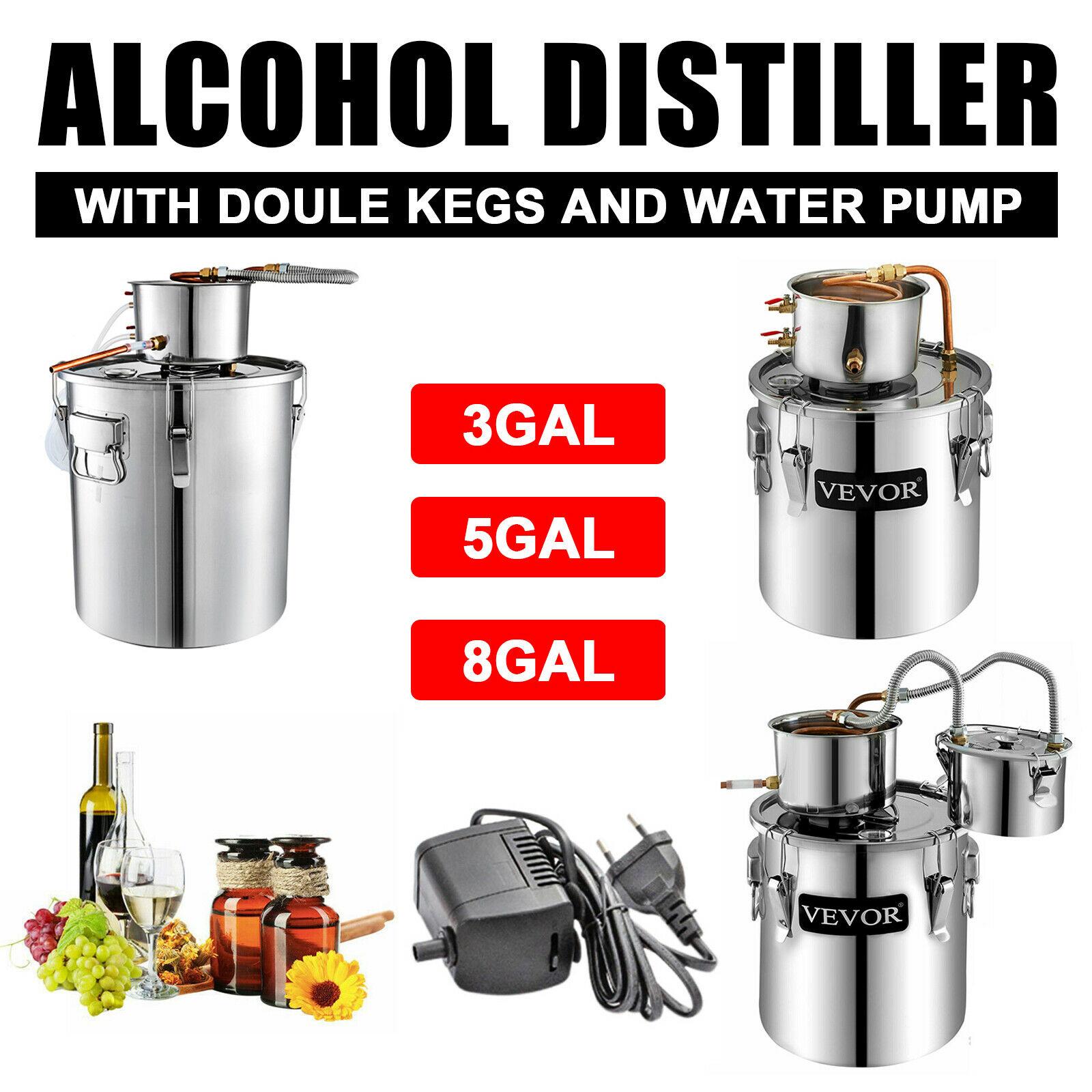 جهاز تقطير المياه المنزلية موزع الجعة ماكينة لبراندي النبيذ VEVOR 3.3/5.5/9.6 غال مون شاين لا يزال الكحول
