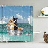 Rideau de douche en tissu 3D avec crochets  rideau de salle de bain ou tapis etanche drole