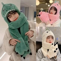 soft plush feel hat children winter warm hooded scarf cozy party costume head accessories dinosaur toy party decorations