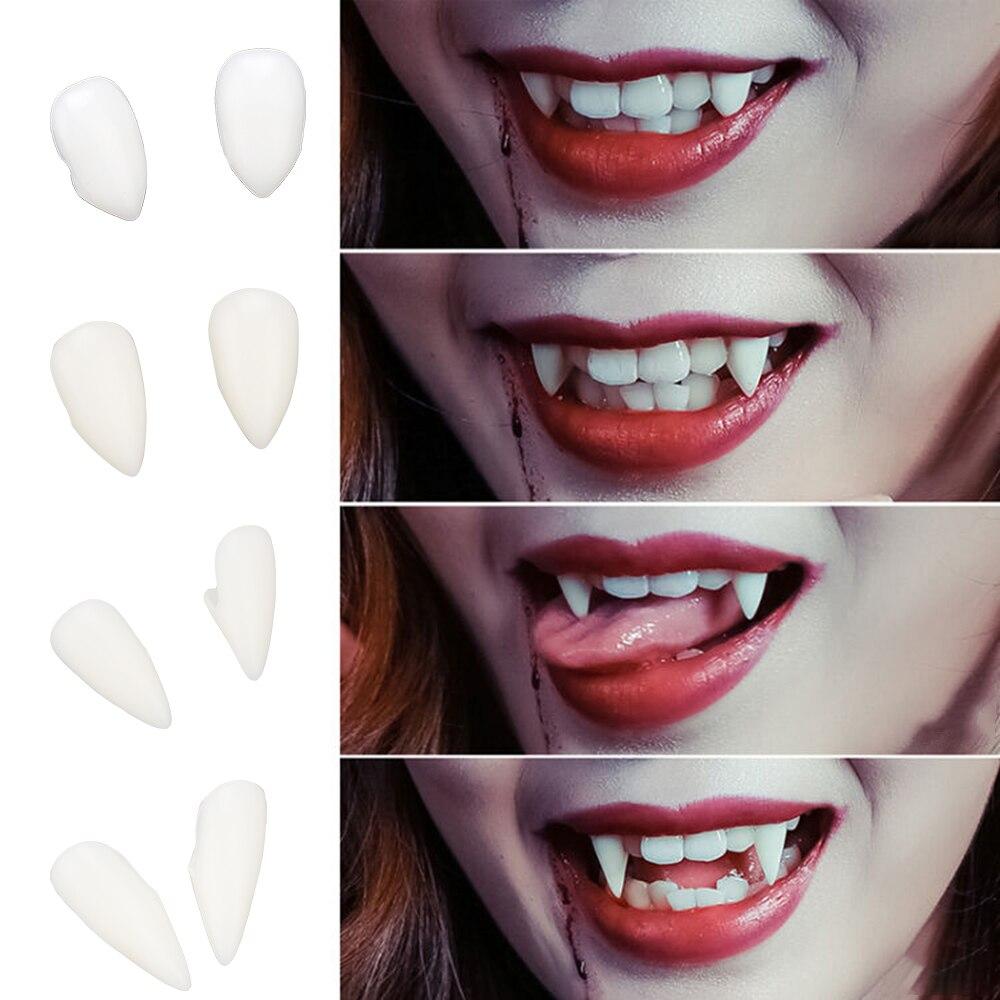Niceyard diy 1 par 4 tamanho dentaduras adereços halloween traje adereços festa amiga do meio ambiente resina dentes vampiro presas