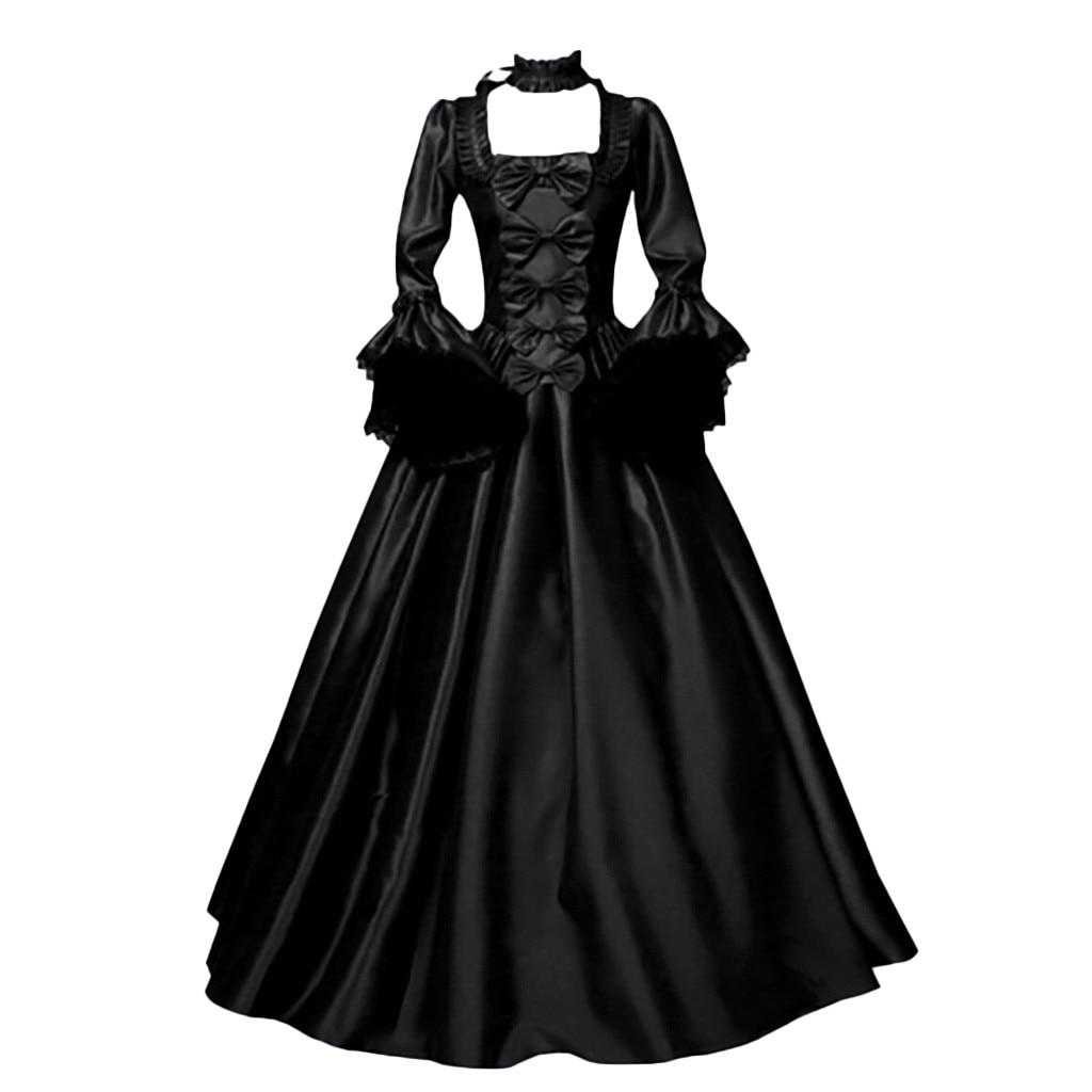 Vestido feminino clássico vintage, túnica preta manga comprida retro gótico 2020