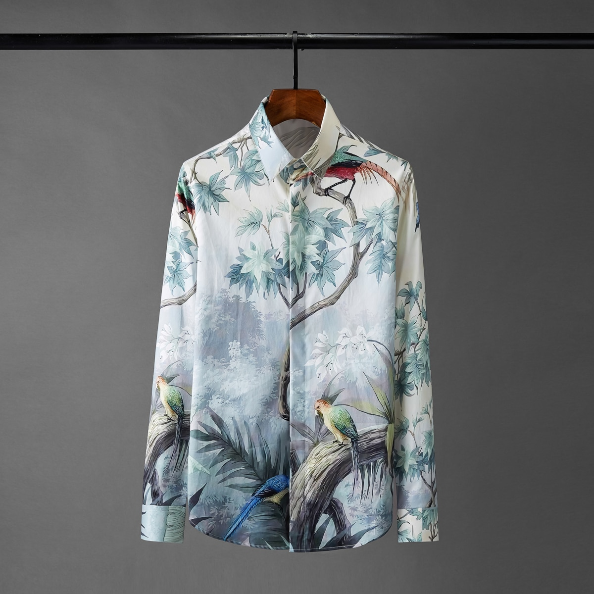 Minglu قمصان رجالي الفاخرة الرقمية جميع ملابس منقوشة بكم طويل حفلة رجالي قمصان حجم كبير 4xl قمصان الموضة سليم رجل عادية