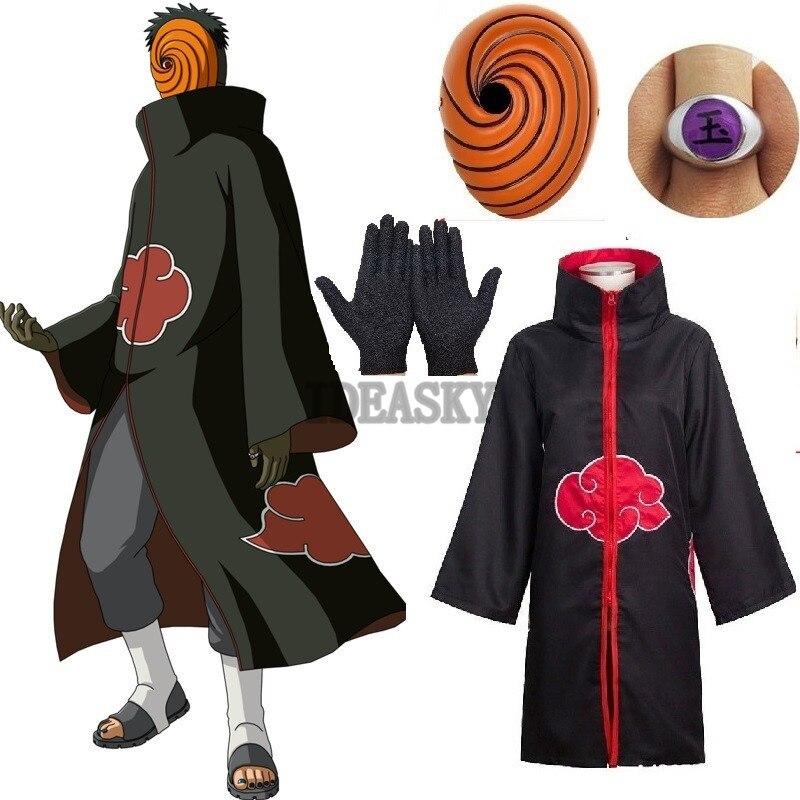 4 pièces Naruto Uchiha Tobi Obito Akatsuki Cosplay déguisement masque Halloween homme femme enfants enfant garçon Cosplay déguisement accessoires