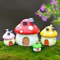 mushroom house castle miniature figurine fairy garden decoration micro gnome terrarium resin craft ornament