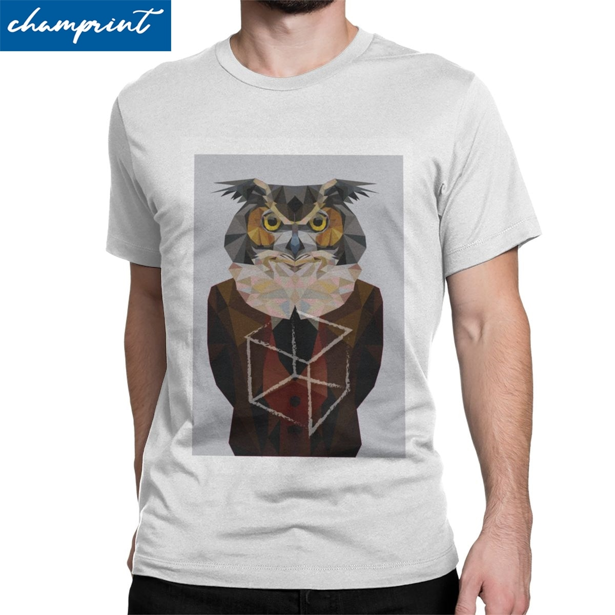 Camiseta de hombre de búho, camiseta divertida de manga corta con cuello redondo, Camiseta de algodón puro, ideal como regalo