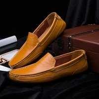 men slip on leather shoes casual male shoes adult driving soft non slip loafers zapatillas hombre