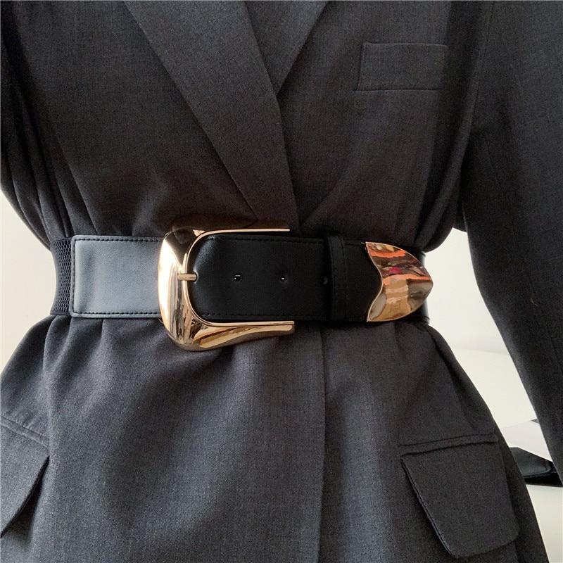 Ремень Эластичный Женский, широкий пояс с пряжкой из сплава, для платьев, модные матерчатые пояса