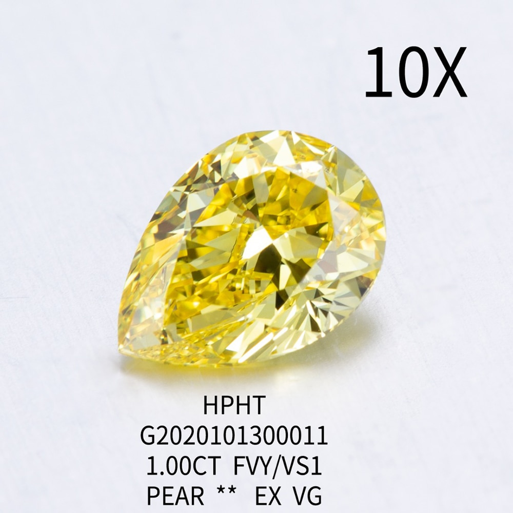 الماس المزروع في المختبر ، 1.0 قيراط ، أصفر حي فاخر ، VS1 ، الوضوح ، الجوزاء ، للكلاب ، HPHT