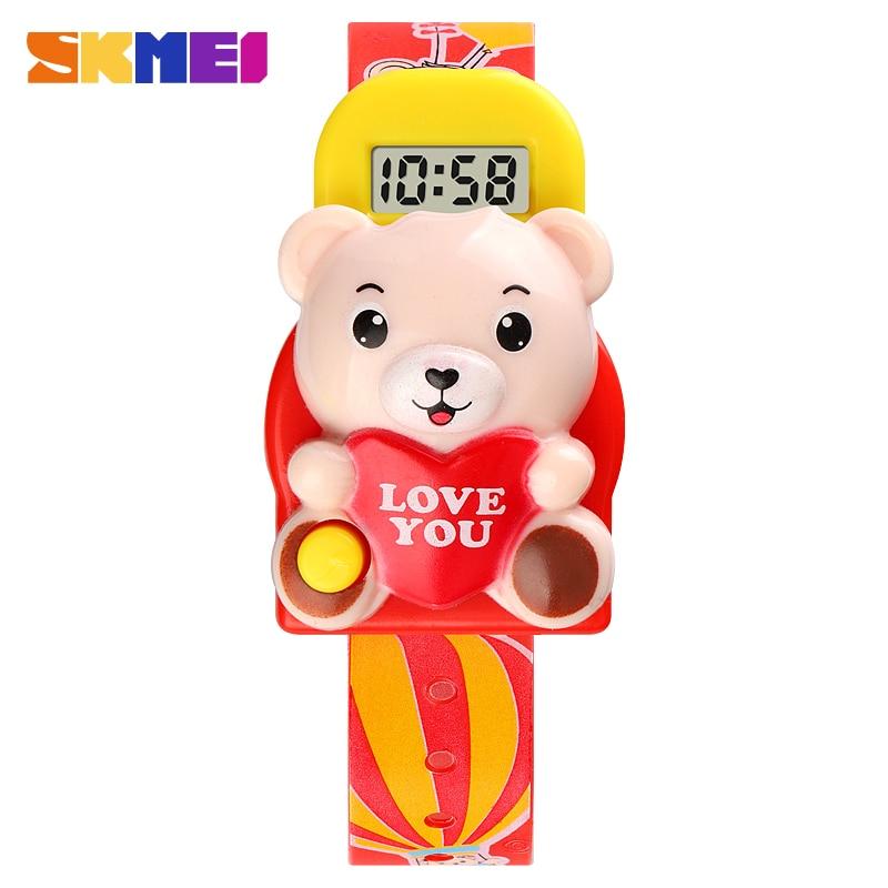 Cute 3D Cartoon Bear 5Bar Waterproof Digital Children Watch Kids Sports Watches For Girls Boys Clock Christmas Gift Clock