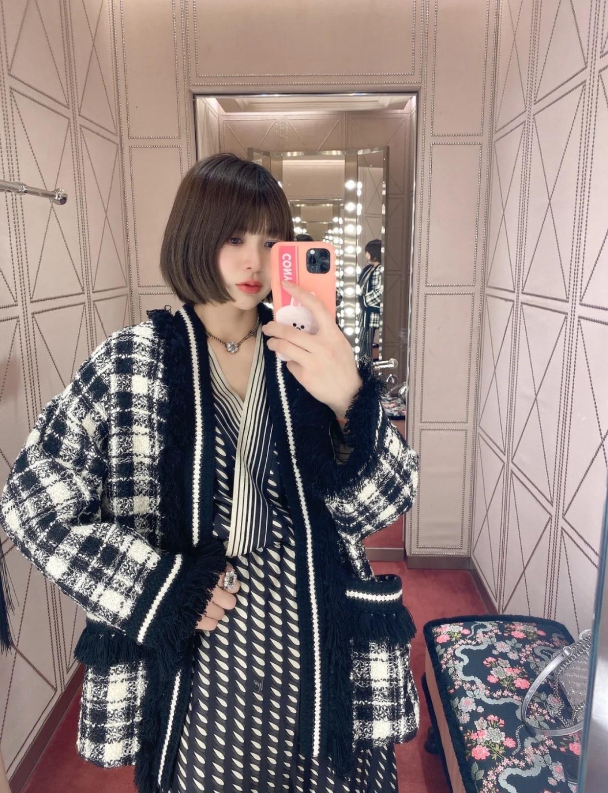Женское твидовое пальто в клетку, Свободное пальто в Корейском стиле без пояса, весна-лето 2021 #