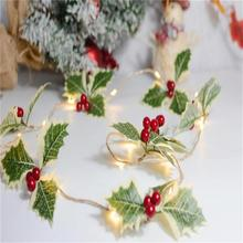 DIY Christmas Leaf Red Fruit Copper Wire Lamp Decorative,Holiday Party Garland Supplies,New Year Hom