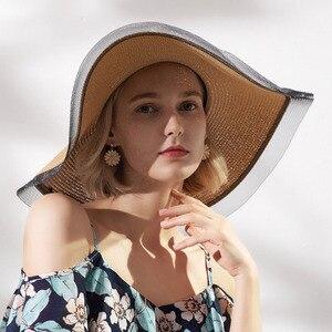 Vintage Sun Hats for Women Girls 17CM Wide Brim Floppy Straw Hat Large Summer Bohemia Beach Sunhat Cap Ribbon Chapeau Black Lace