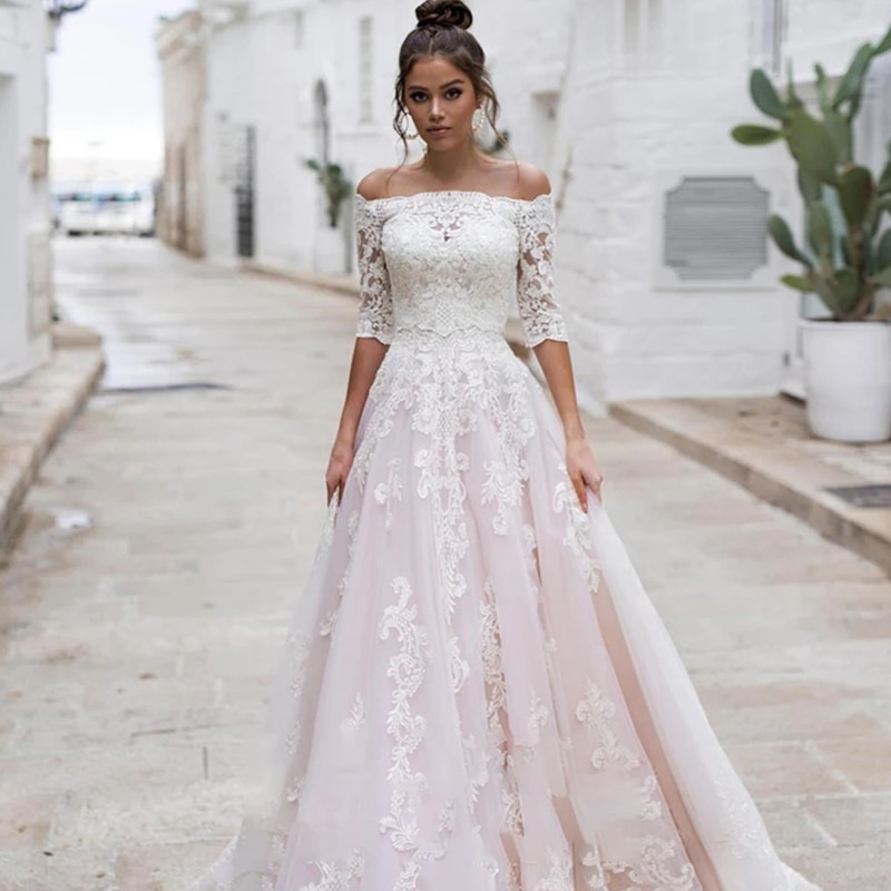 Review Lace wedding dress one shoulder long sleeve  retro beautiful bridal dresses 3d flower embroidery big skirt
