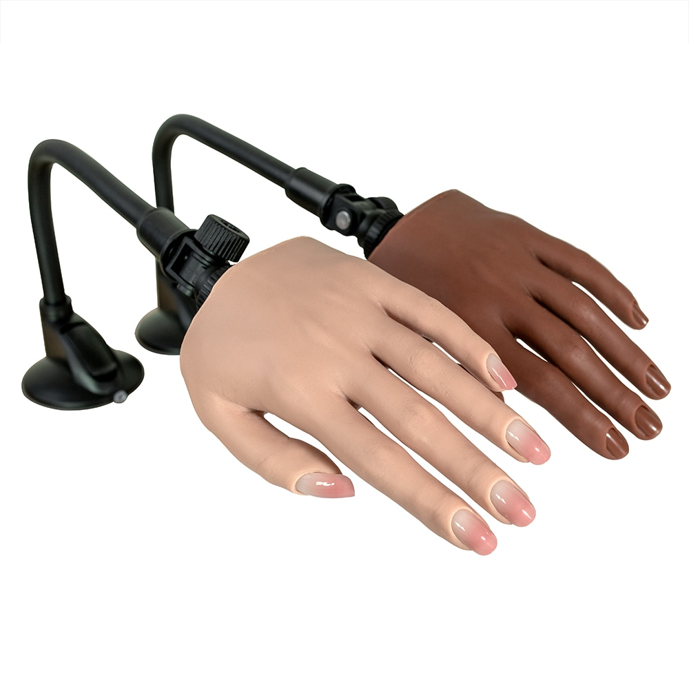 Professional Silicone Hand For Nails Practice Display Tool Female Model Training Curvy Adjustable Flexible Gel Techniques Techs