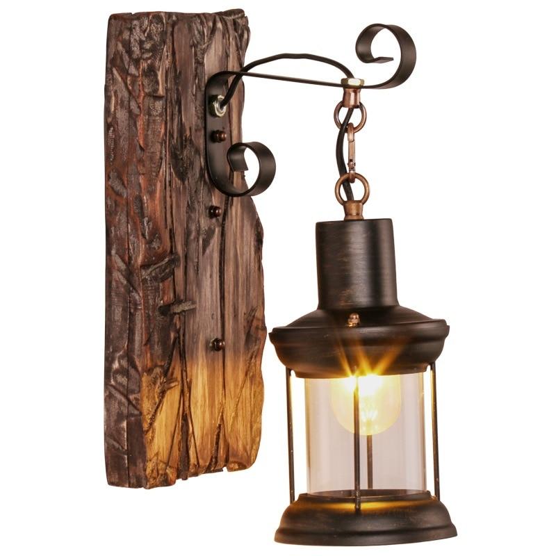 Американский Ретро промышленный деревянный креативный Бар Кафе Ресторан настенный светильник Настенные светильники для дома