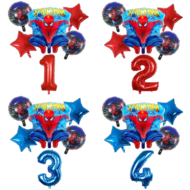 6pcs Spider Cartoon man Foil Balloons 1 2 3 4 5 6 7st Super Hero Birthday Party Decorations 30inch Number Balloon Star Kids Toys