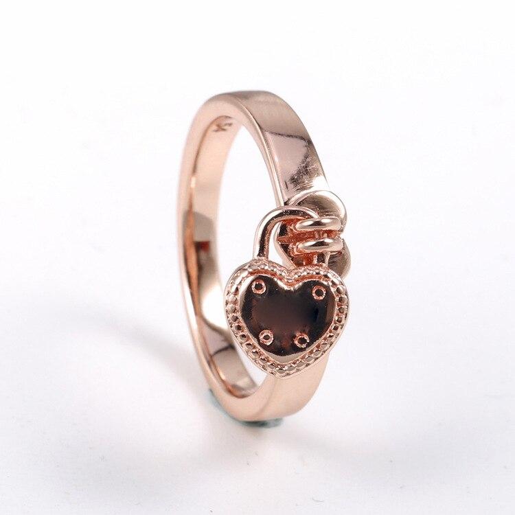 Оригинальное настоящее кольцо из стерлингового серебра 925 пробы, розовое золото, любовь, замок, сердце, кольца для женщин, Свадебная вечерин...