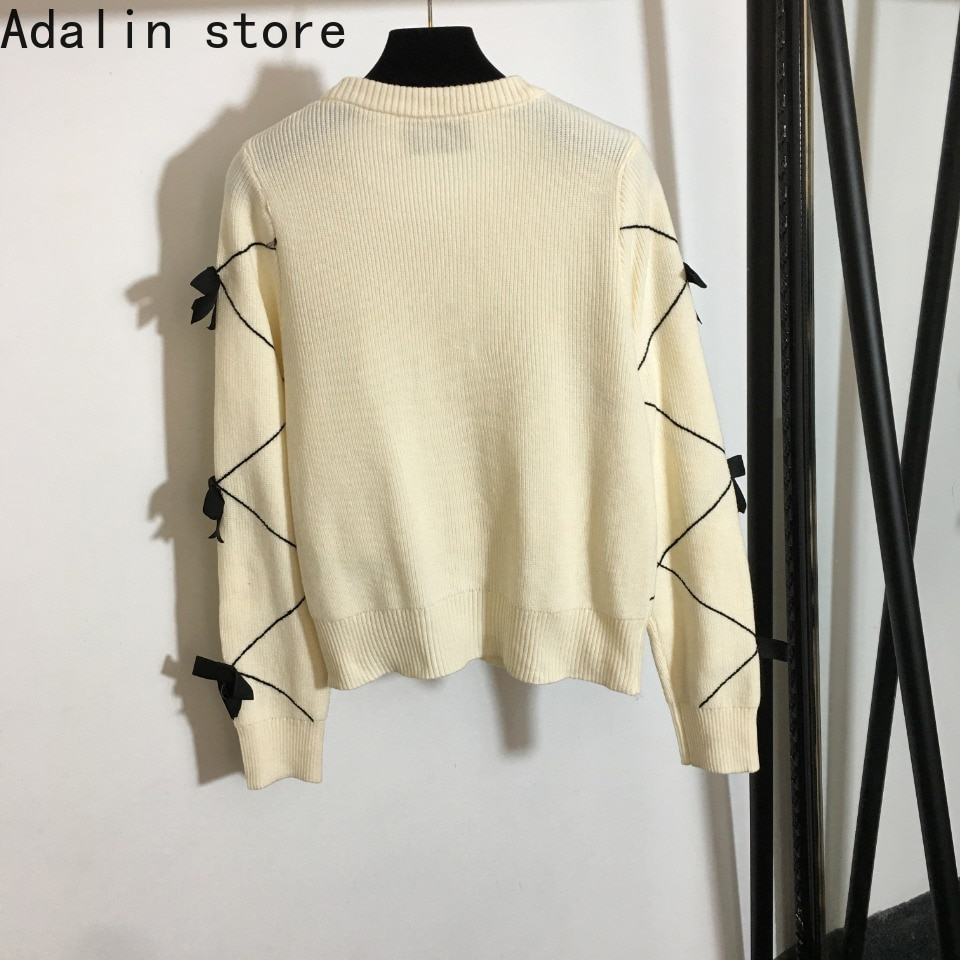 2021 high quality autumn and winter new embroidery bow decoration fashion women's cardigan versatile knitted coat sweater enlarge
