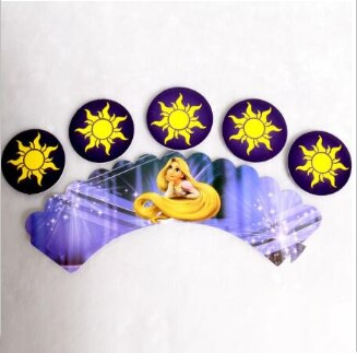 12 Uds. Envoltorios + 12 Uds. Toppers Rapunzel enredado Cupcake envoltura princesa Toppers falda niñas suministro para fiestas de cumpleaños Mesa Deco