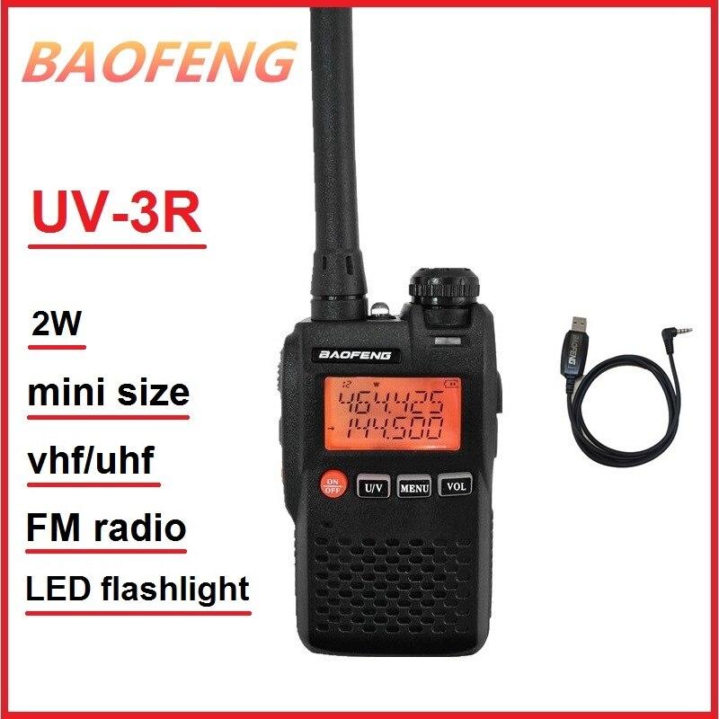 BAOFENG UV-3R VHF UHF Mini Walkie Talkie 2W Transceiver Ham Radio Amateur UV 3R Radio Sender FM Radio Wireless intercom