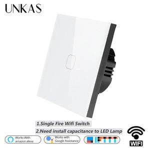 UNKAS EU/UK WIFI Smart 1 Gang Touch Switch Ewelink APP Wireless Remote Light Wall Touch Switch Work With Alexa / Google Home