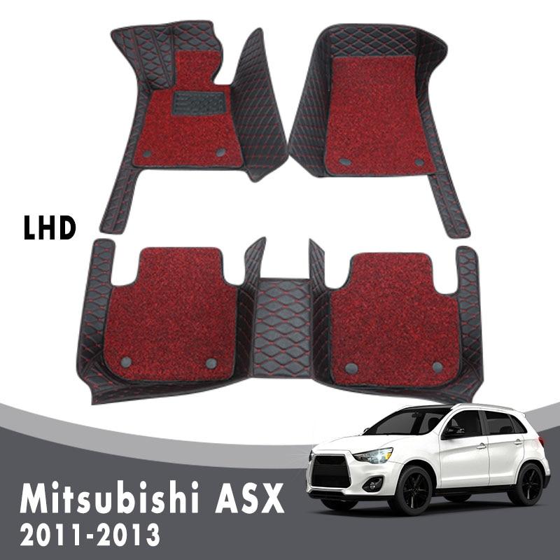 Alfombras de suelo de lujo de doble capa con lazo de alambre para Mitsubishi ASX 2013 2012 2011, alfombras y fundas protectoras personalizadas con estilo para automóviles