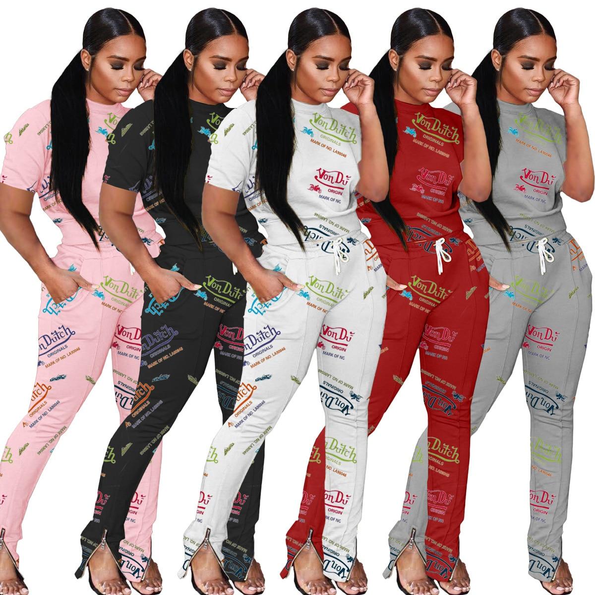 Classy Two Piece Set Women Drawstring Pants Graffiti 2 Piece Sets Summer Outfits Fashion Cotton Von Dutch Sweatsuits