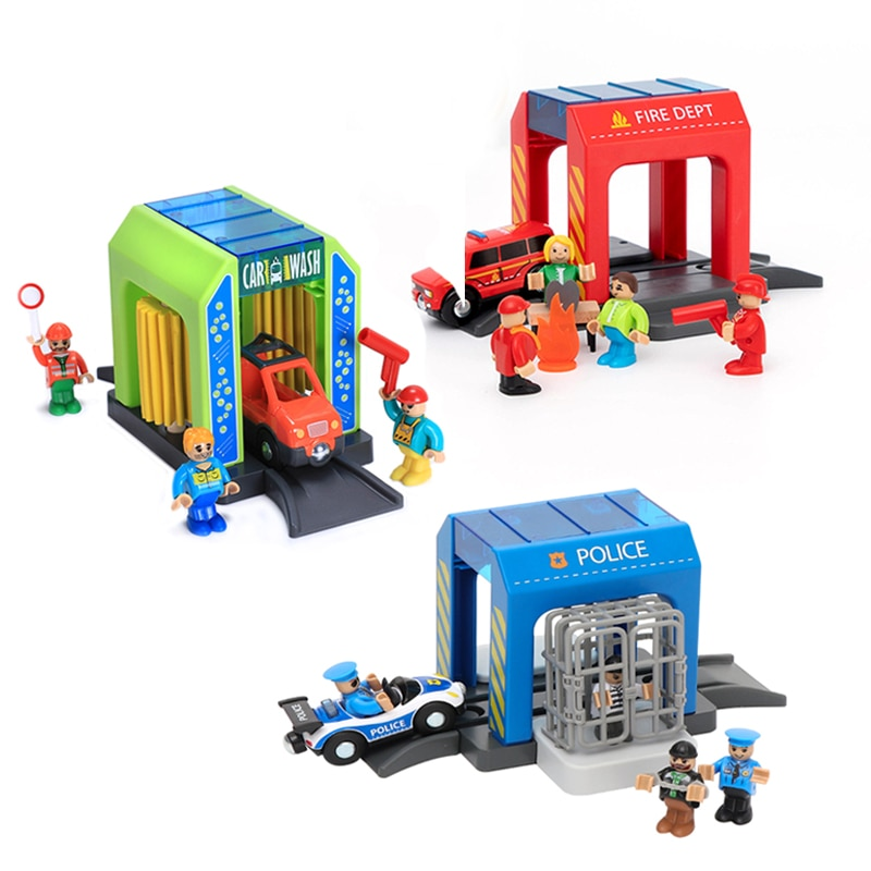 New Toy fire station rail car car wash room police station building block truck set children compatible wooden track