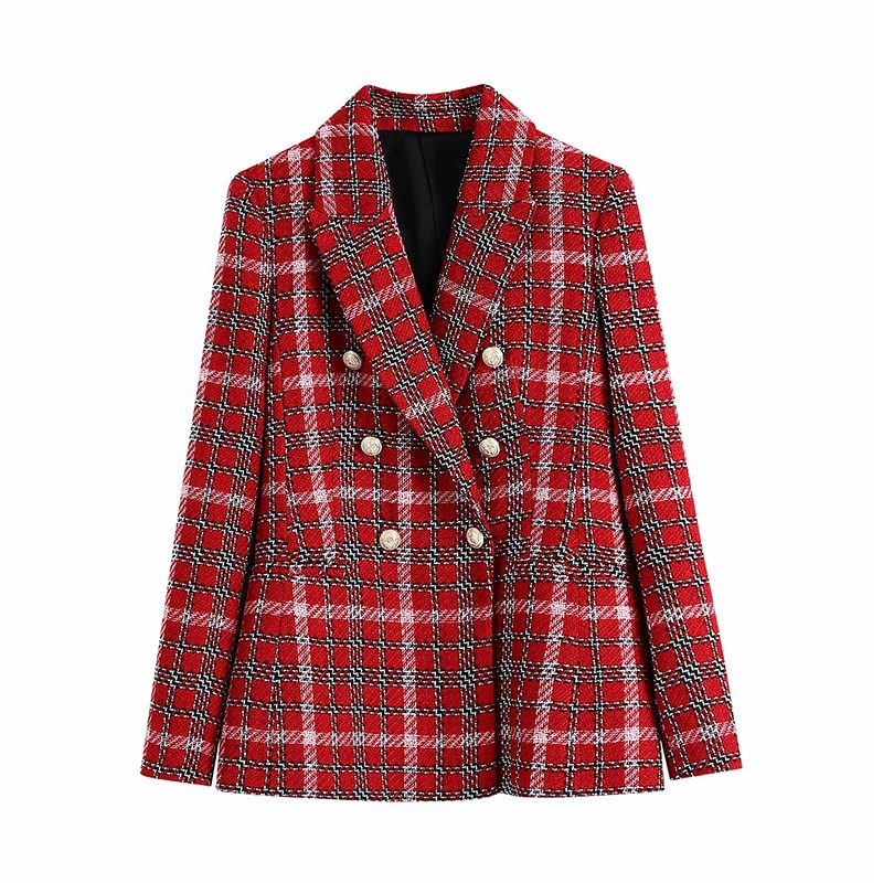High Quality Autumn and Winter Women's Plaid Double-breasted Suit Jacket Loose Double-breasted Long-sleeved Jacket Suit Women floral and animal embroidery long sleeved jacket