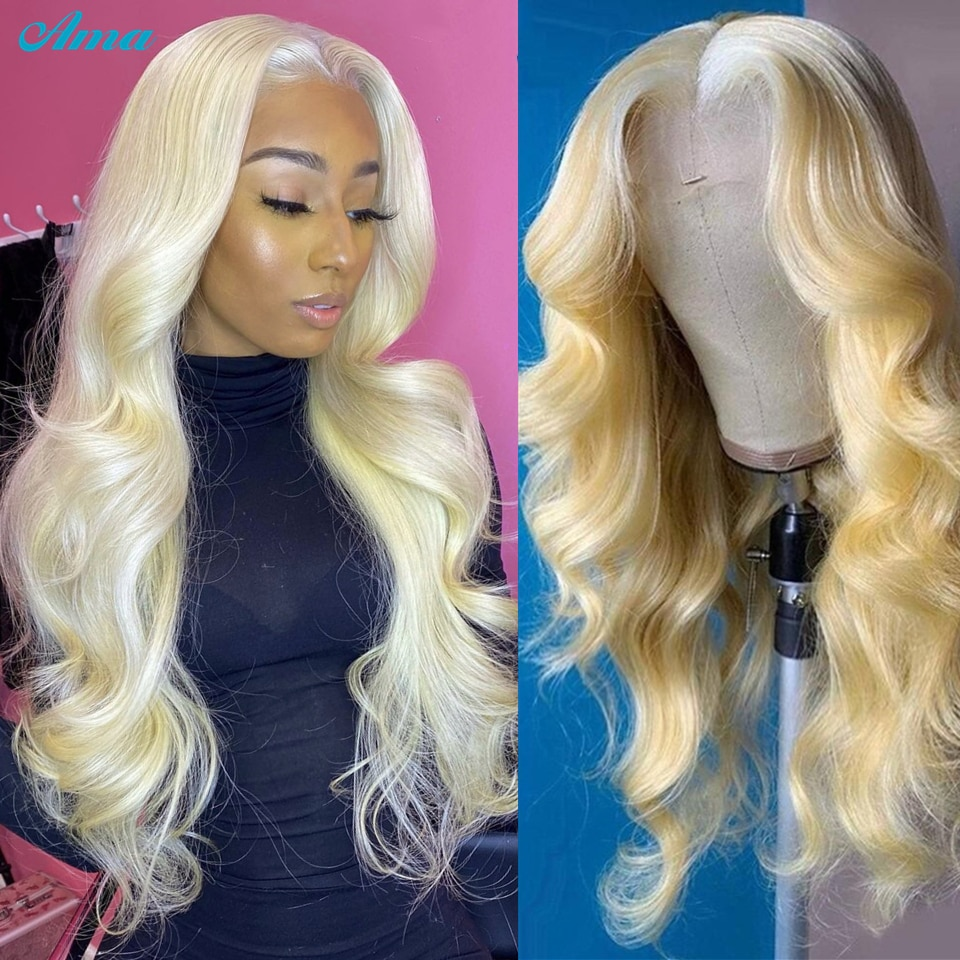 613 Blonde Body Wave Lace Front Wig Brazilian 613 Transparent Lace Front Human Hair Wigs For Women R